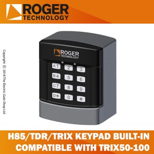 roger technology h85/tdr/trix keypad selector with 12 digit numbers, 4 channel, external, for rolling code and fixed code transmission. compatible only with photocell column trix50-trix100.
