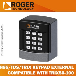 roger technology h85/tds/trix keypad selector with 12 digit numbers, 4 channel, external, compatible only with photocell column trix50-trix100.