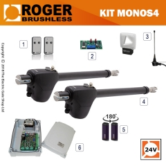 roger technology monos 24v brushless electric gate kit - double