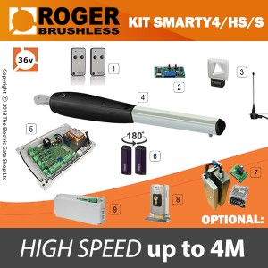 roger technology smarty4/hs/s 36v brushless electric gate kit - single