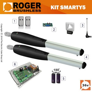 roger technology smarty 5 36v brushless electric gate kit - double