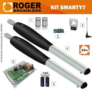 roger technology smarty7 36v brushless electric gate kit - double
