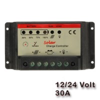 solar charge regulator 12/24 volt is a small advanced, economical charge controller with led indicators.