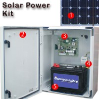 solar power plant ideal for gates away from a power source or for the environmentally conscious.