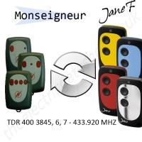 monseigneur gate remote 433.920mhz, replaced by jane f remote.