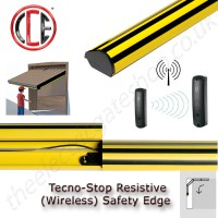 wireless tecnostop slim resistive safety edge kit features high visability, easy length adjustment, a slim profile, ip66 and sensitive switches this edge is ideal for moving doors.