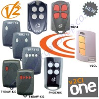 cl-one all for one remote, v2 phoenix, trc4, tsc4, trr1 43, trr2 43, trr4 32, t1saw 433, t4saw 433 gate key fob. the cl1 chrome finished remote replaces the remotes listed, and features 1-4 button and easy change battery.