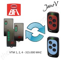 BFT Gate Remote 315.000MHZ, Replaced by Jane V Multi-frequency Remote.