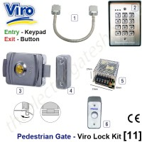 pedestrian security gate electric lock kit.  entry via keypad, exit via push button