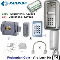 pedestrian security gate electric lock kit.  entry via doorphone release / keypad, exit via doorphone release / internal keypad.
