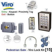 pedestrian security gate electric lock kit.  entry via keypad / proximity tag, exit via proximity tag