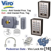 pedestrian security gate magnetic lock kit.  entry via anti vandal proximity tag, exit via proximity tag