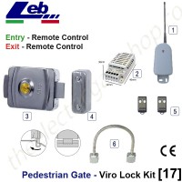 pedestrian security gate electric lock kit.  entry via remote control, exit via remote control.