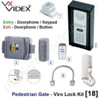 pedestrian security gate electric lock kit.  entry via doorphone release / keypad, exit via doorphone release / push button.
