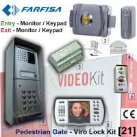 pedestrian security gate electric lock kit. entry via farfisa video door phone release / keypad, exit via video door phone release / push button.