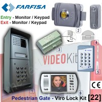 pedestrian security gate electric lock kit. entry via farfisa video  door phone release / keypad, exit via video door phone release / internal keypad.