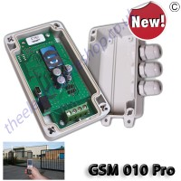 gsm pro automatic gate controller (200 user remote relay over gsm) is used to open gates etc. remotely over gsm network. waterproof box and computor lead as standard. secure gsm.