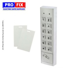 keypad standalone stainless steel for use with any gate or access control system. 110 codes, ip 66 rated, back lit, twin relay.