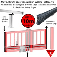 Transmission system for gates up to 10m allows Category 3 safety edges to be applied for constant monitoring of obstacles