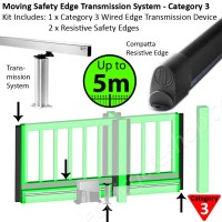 Transmission system for heavy duty gates up to 5m allows Category 3 safety edges to be applied for constant monitoring of obstacles