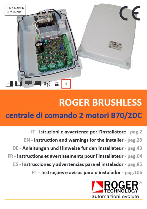 Roger Technology Brushless B70/2DC/BOX Control Board